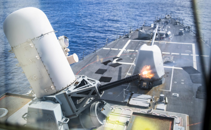 191001-N-CL550-0398 WATERS SOUTH OF JAPAN (Oct 1, 2019) A close-in weapon system is fired during a live-fire exercise aboard the Arleigh Burke-class guided-missile destroyer USS Milius (DDG 69). Milius is underway conducting operations in the Indo-Pacific region while assigned to Destroyer Squadron (DESRON) 15, the Navy's largest forward-deployed DESRON and the U.S. 7th Fleet's principal surface force. (U.S. Navy photo by Mass Communication Specialist 2nd Class Taylor DiMartino/Released)