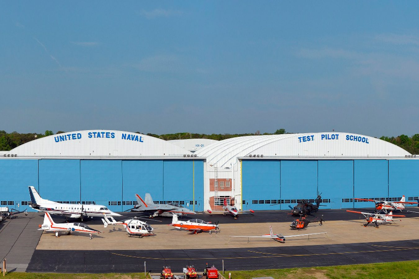 Photo of the US Navy Test Pilot School hangars at NAS Patuxent River, Maryland.