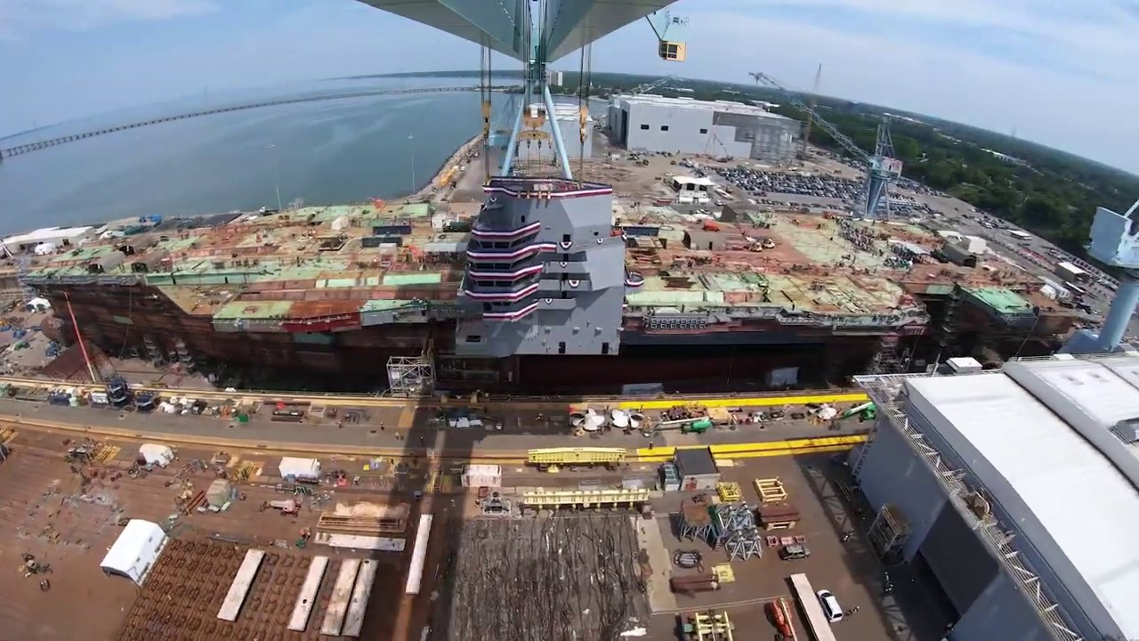 The Future USS John F. Kennedy's Island is Lowered Into Place